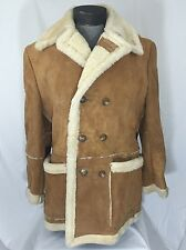 Vintage Mens 100% Sheepskin Shearling Double-Breasted Peacoat Size 48