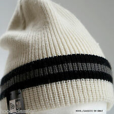 New Era Ribbed Stripy Plain Cuff Cap Fitted Turn Up Knit White Cream Beanie Hat