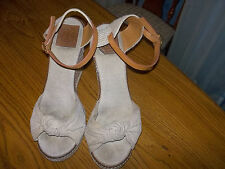 TORY BURCH LEATHER STRAP TAN KHAKI WEDGE PLATFORM HEELS SIZE 9B
