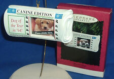 Hallmark Photo Holder Ornament Special Dog 1994 Puppy in Newspaper NIB