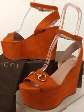 NIB GUCCI RUST SUEDE GOLD HORSEBIT LILIANE WEDGE PLATFORM SANDALS 37.5 7+ 338959