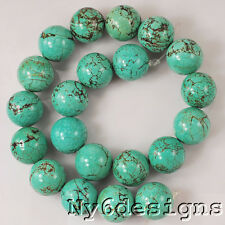 "Green Magnesite Turquoise Large 20x20mm Round Beads 15"" (TU719)h  DIY Jewelry"