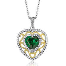 "2.38 Ct Heart Simulated Emerald Two-Tone Sterling Silver Pendant with 18"" C"