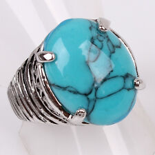 Hot Women Mens Tibetan Silver US Size 9 Ellipse Dark Turquoise Ring Jewelry D857