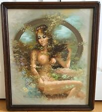 VINTAGE MCM MID CENTURY MODERN 70's  NUDE WOMEN PORTRAIT OIL PAINTING (Signed)