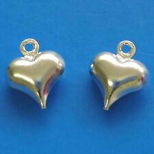 50 Chapado en Plata 11x9mm Puffy corazón encantos fabricación de joyas