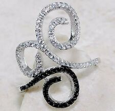 Black Sapphire & White Topaz 925 Solid Sterling Silver Ring Sz 8, T1-11