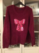 F&F Plus Sz 22 Dark Pink Fluffy Jumper Big Sequin Bow Beautiful Xmas Jumper
