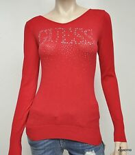 New GUESS JANE Logo Crystal Cut Out Long Sleeve Sweater Pullover Top Red XS