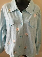 Quacker Factory Jacket Womens Size L Blue Gingham Embroidered Daisy Daisies QVC
