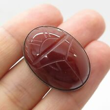 925 Sterling Silver Large Real Carnelian Gemstone Scarab Unfinished Jewelry