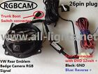 Volkswagen emblem flip rearview camera vw flip camera with RGB plug and play