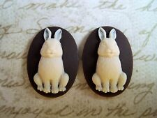 25x18mm Bunny Cameos (2) - L641 Jewelry Finding