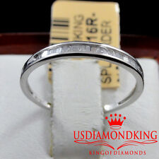 LADIES WOMEN 10K WHITE GOLD GENUINE BAGUETTE DIAMOND WEDDING ENGAGMENT BAND RING