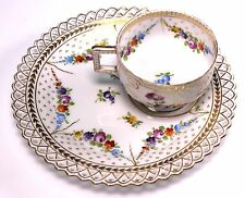 Dresden Hand Painted  Porcelain Cup and Reticulated Saucer Tennis Snack Set