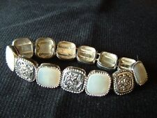 Monet Vintage Stretch Bracelet - Mother of Pearl and Silver-toned Metal 8 Inch