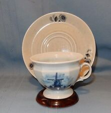 Made in Holland Delft Blauw Blue Cup and Saucer Windmill & Flowers Dutch