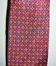 VTG BURBERRY London Tie Red Blue Gold Flower Floral Pattern Silk Men's Necktie