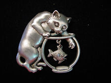 """JJ"" Jonette Jewelry Silver Pewter 'Cat w/Hand in Fish Bowl' Large Pin"