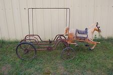 VINTAGE HORSE & WAGON / CARRIAGE CHILD'S METAL PEDAL CART, BICYCLE CHAIN POWERED