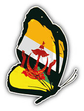 Brunei Flag Butterfly Car Bumper Sticker Decal 4'' x 5''