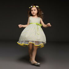 Girl's Dress - Dotted Yellow Sleeveless Dress with Lace design