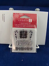 NEW STUDIO G CLEAR STAMP SET SEASONS GREETINGS JUST FOR YOU CANDY CANES VC0057
