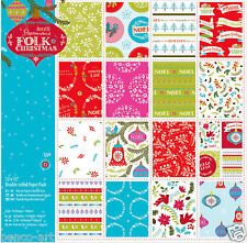 "Papermania 32 sheet pack linen scrapbooking paper 12x12"" 160gm Folk Christmas"