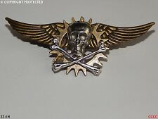 steampunk goth brooch badge cog flying wings pirate skull crossbones totenkopf