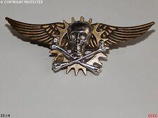 steampunk goth brooch badge cog flying wings pirate skull crossbones totenkopf