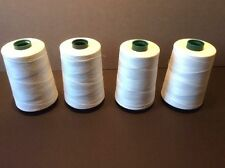 (4) Spools Perma Core Poly-wrap Poly Sewing Thread Tex-40 6000 Yds (White 32001)