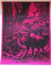 Vtg 1971 Optique Studios Boar Head Shop Psychedelic Black Light Poster (20x26)