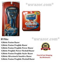 *6 GILLETTE FUSION  Razor 4 Cartridges Blades Handle Refills Shaver Fit Flexball