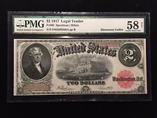 1917 $2 Two Dollar Legal Tender Note PMG AU58 About Uncirculated Bill White Fr60