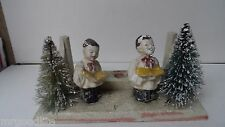 Unusual Old Christmas Candleholder w Choirboys & Brush Trees
