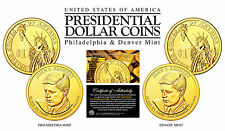24K Gold Plated JOHN F KENNEDY 2015 Presidential Dollar 2-Coin Set BOTH P&D MINT