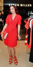 NewWT Karen Millen red 24h crepe pleated evening party cocktail dress Sz UK 14