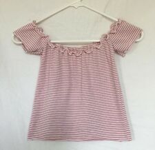 brandy melville Pink/white Stopped cropped ribbed off shoulder jessie top Sz S