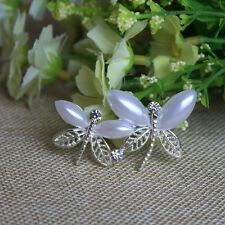 "2"" WHITE FAUX PEARL DOUBLE DRAGONFLY DIAMANTE RHINESTONE CRYSTAL BROOCH PIN"