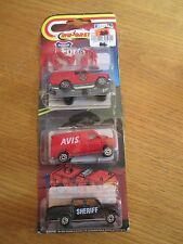 Majorette Movers AVIS Van, Sheriff Pickup Truck and Fire Chief Truck w/ Figures