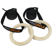 PROCIRCLE Wooden Gymnastics Rings Olympic Gym Rings W/ Cam Buckle Straps