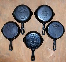 Lot of 5 Cast Iron Skillets #3 -  Large Logo Griswold - Wagner Ware Pie Logo
