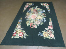 4' X 6' Handmade French Country Garden Design Needlepoint Rug Flat Weave Flowers