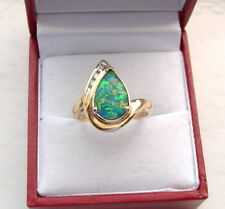 OPAL MOSAIC TRIPLET RING DIAMOND ACCENTS 14K YELLOW GOLD