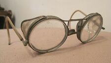 rare antique motocycle AO floding aviator metal riding eye glasses goggles pair
