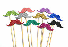 Photo Booth Props Weddings Parties Glitter Moustaches Staches x10PC