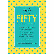 25 Personalized 50th Birthday Party Invitations  - BP-045 Yellow Cyan Polka Dots