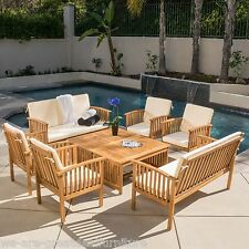 Casual Outdoor Patio Furniture  8-pc Wood Stained Finish Sofa Seating Set