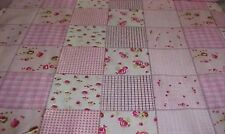 King Size Floral Plaid Rose Cheater Quilt Top 90 x 108 (3 Yards)