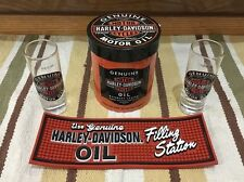 Harley-Davidson Shot Glass Motorcycles Motor Oil Can Metal Bike Vintage Look Bar